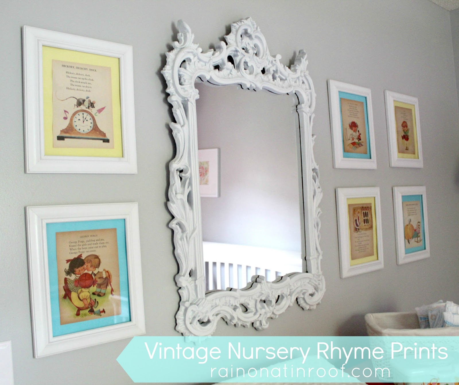 Diy vintage nursery rhyme prints simple cheap for Cheap framed prints online