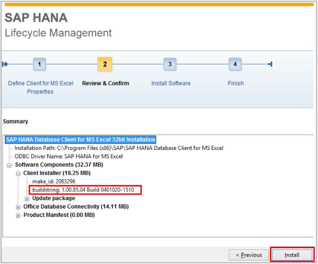 Install HANA Excel client