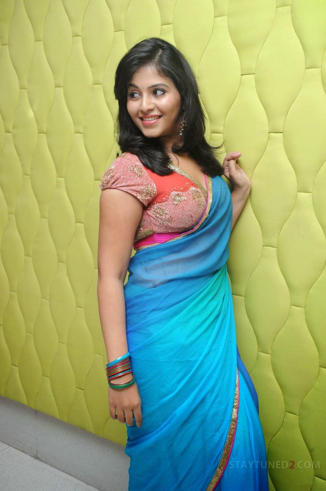 tollywood actress anjali in blue saree