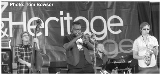 Patrick Mulcahy - Marquis Hill - Rich Moore - Chinchano - Chicago Jazz Festival 2015   Photograph by Tom Bowser