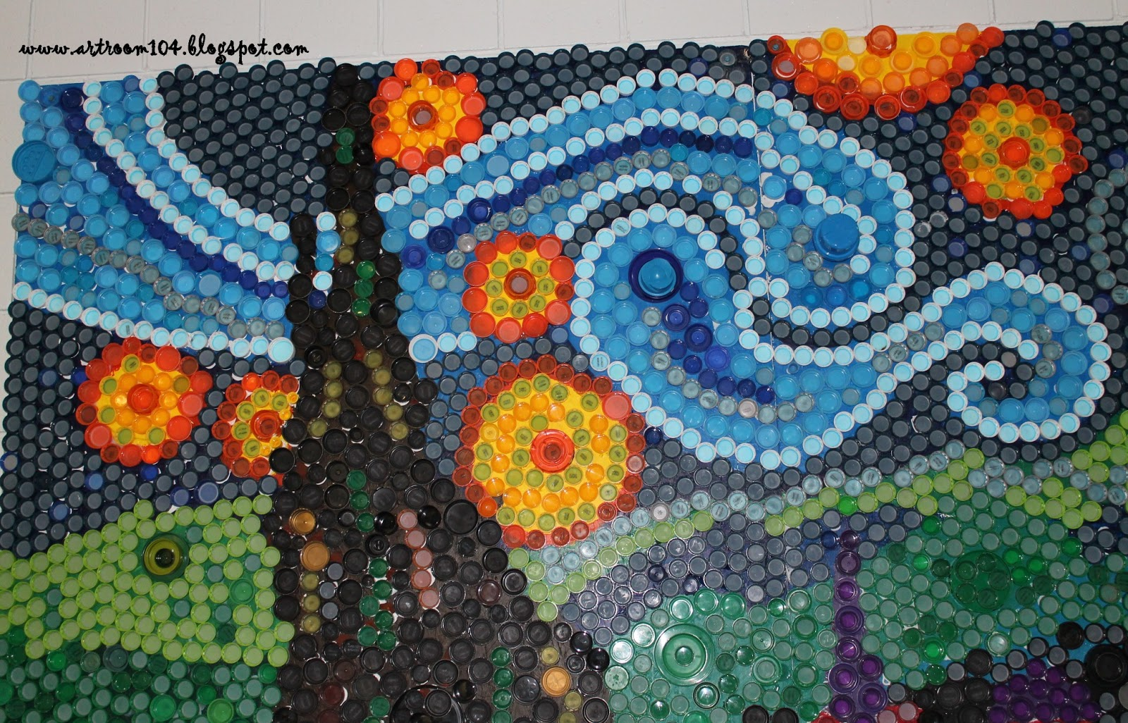 Art room 104 finished bottle cap mural starry night for Bottle top art projects