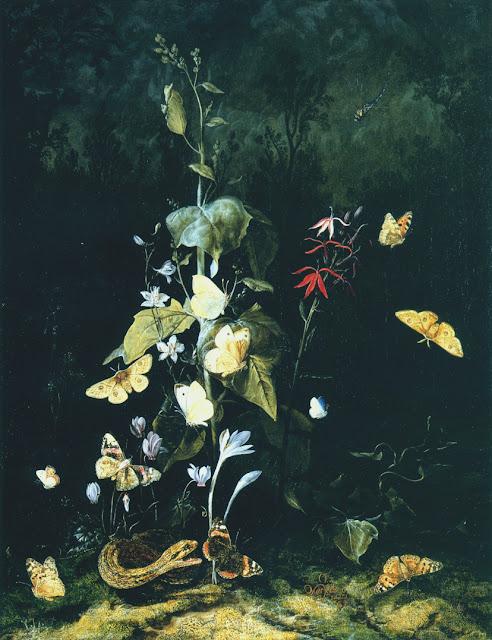 Otto Marseus van Schrieck - Plantes sauvages et papillons dans un paysage de forêt