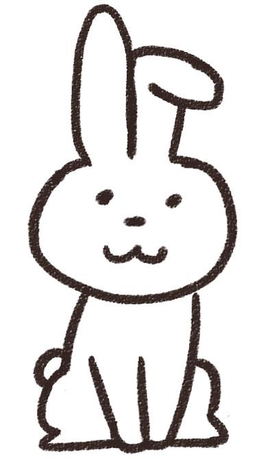 ウサギのイラスト(動物) 白黒線画