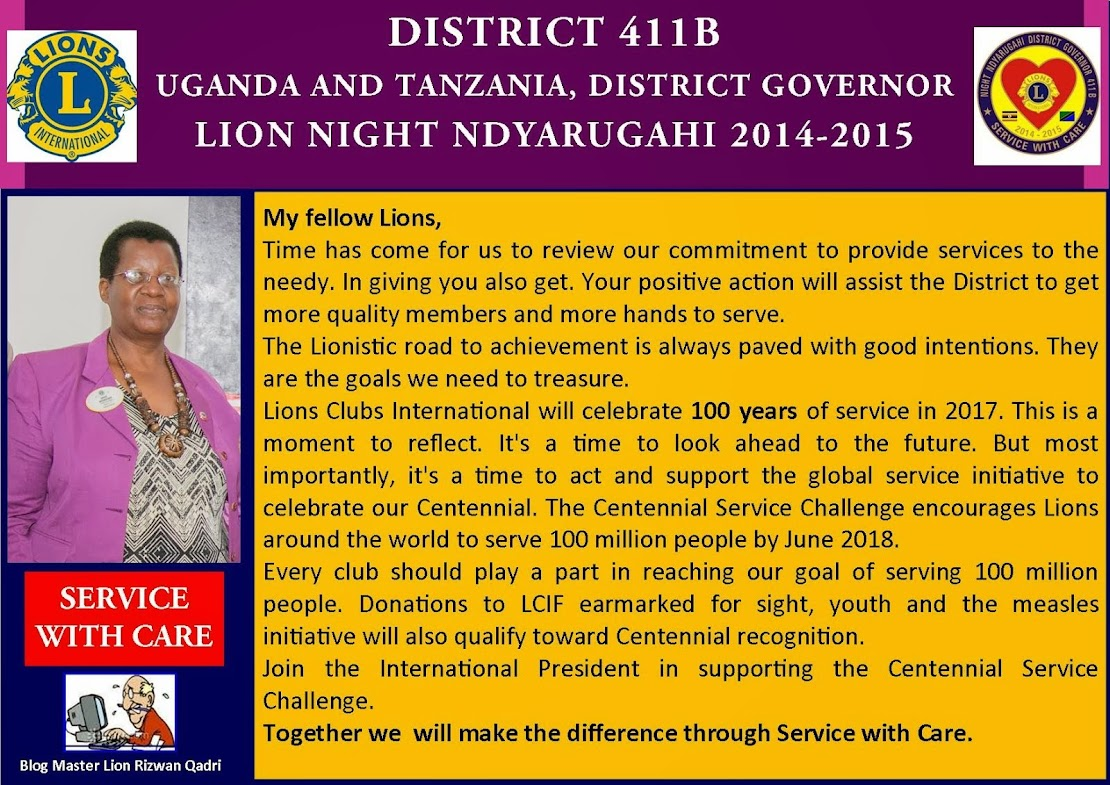 DISTRICT 411B DISTRICT GOVERNOR LION NIGHT NDYARUGAHI