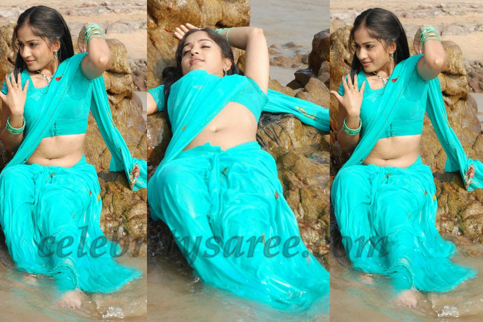 Tollywood Actress Madhavi Latha In Blue Georgette Wet Saree Paired With Short Sleeves Blouse