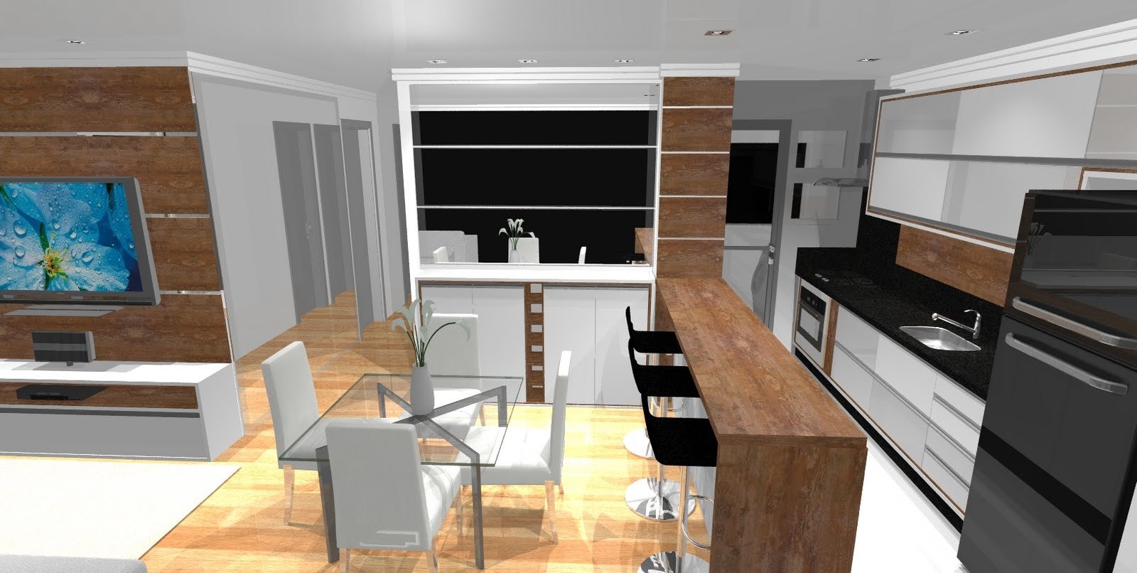 #0C456D  Planejar sonhos : Projeto APTO DE 75 M² COM COZINHA AMERICANA 1600x806 px Projetos De Cozinha Americana Planejada_5327 Imagens