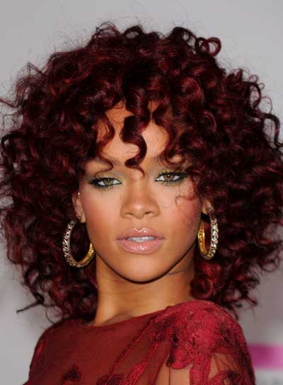 ponytail hairstyles 2012 celebrity rihanna curly red