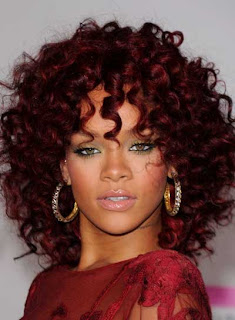 Celebrity Rihanna Curly Red Hairstyle Ideas for Girls
