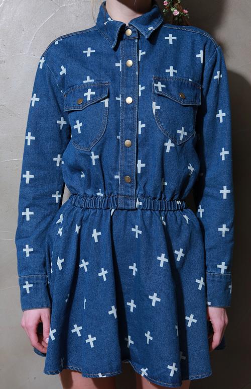 Cross Print Denim Dress