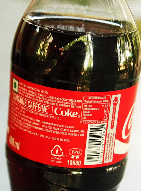 coke nutritional label information