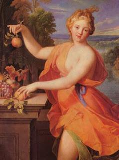 Pomona era, en la mitología romana, la diosa de la fruta, y por extensión de los árboles frutales, los jardines y las huertas. Era una diosa únicamente romana, y se asocia generalmente con la abundancia, particularmente con la floración de los árboles —en oposición a la cosecha— y además de las frutas; también lo era del olivo y de la vid. El cuchillo de podar, o la hoz, fueron sus atributos. Detestaba la naturaleza salvaje y prefería los jardines cuidados: ninguna deidad conocía como ella el arte de su cultivo y el de los árboles frutales. Pomona no sentía ninguna atracción por los hombres, a pesar de ser requerida por todos los dioses campestres.