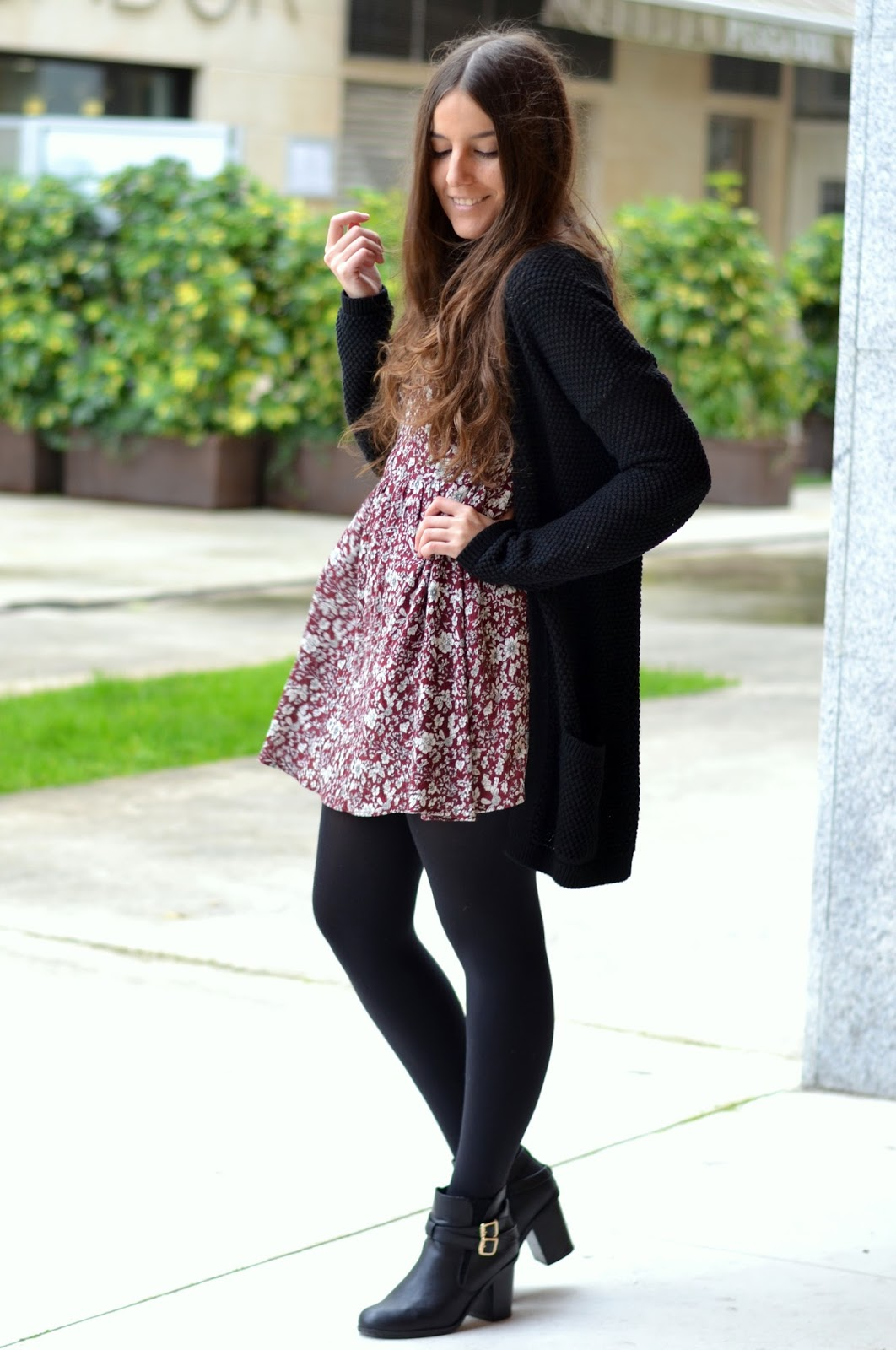 cardigan, dress, ankle boots