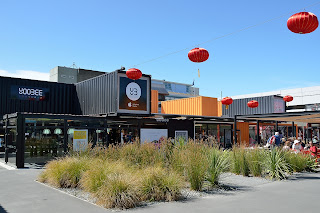 Container mall in Christchurch with Chinese decorations
