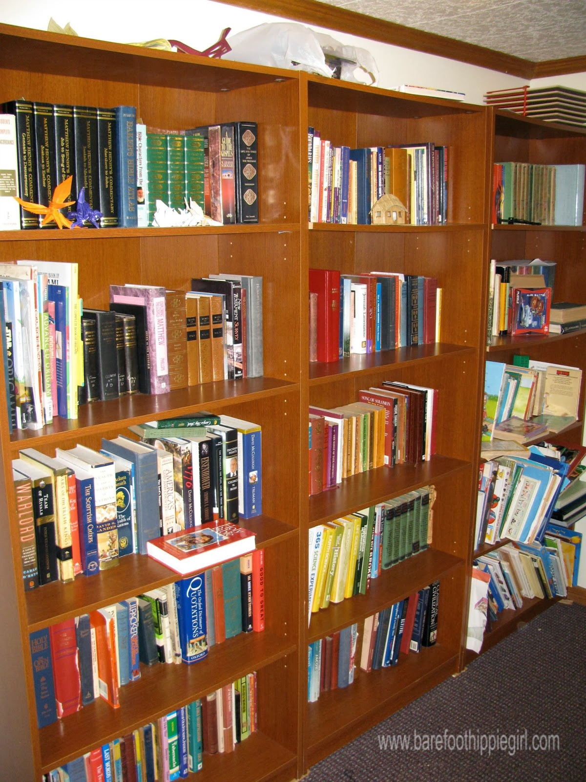 It is packed with a whole lot of variety. Kids books, novels, textbooks,  commentaries, classics, origami, uglies-but worthwhile. It is just now full  up.