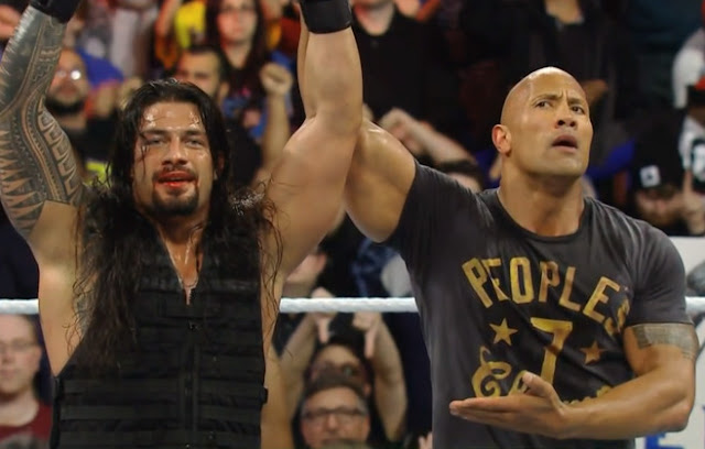 The Rock Dwayne Johnson Roman Reigns Royal Rumble 2015 Philadelphia Boos
