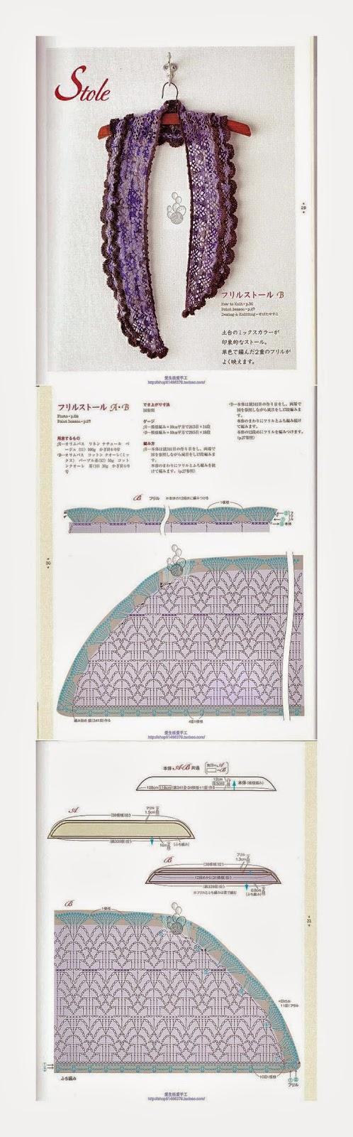 Estola tejida con ganchillo - con patrones y esquemas