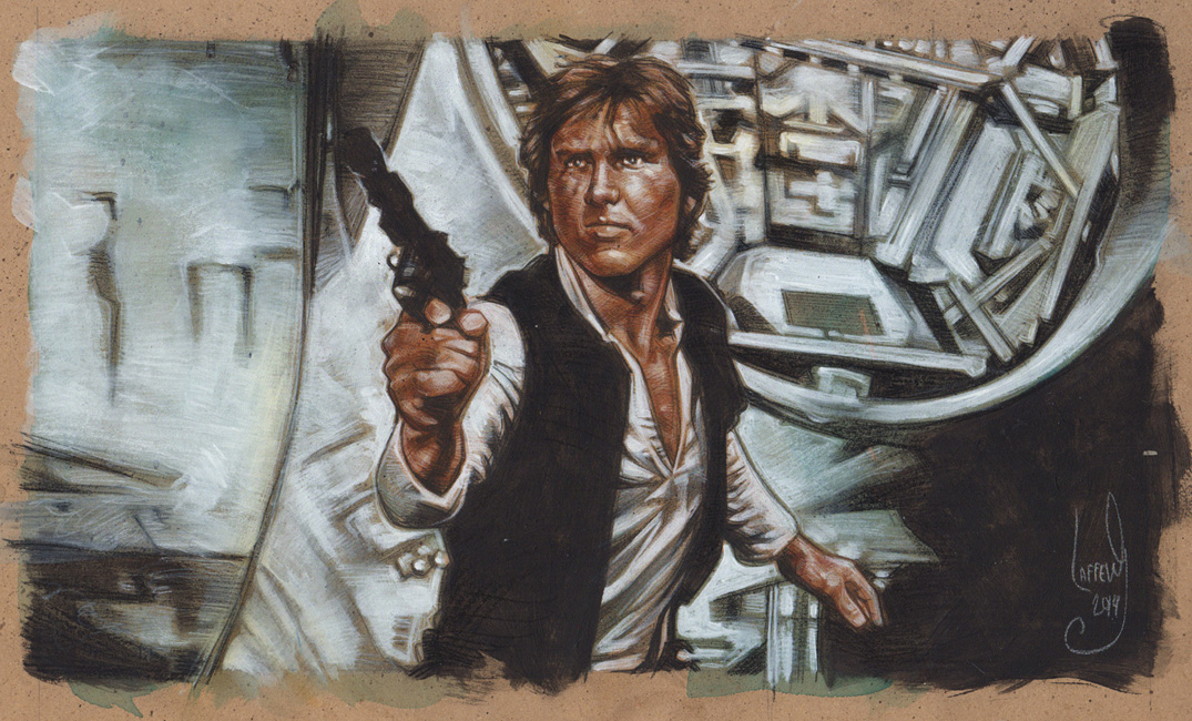 Harrison Ford as Han Solo, Artwork is Copyright © 2014 Jeff Lafferty