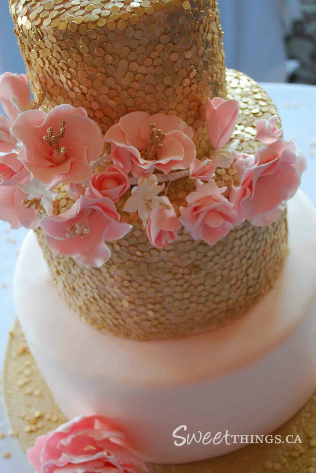 SweetThings Pink and Gold Wedding Cake
