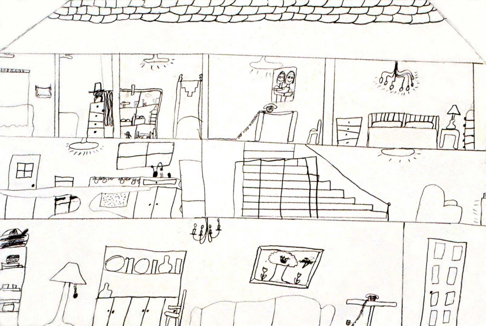 Art for small hands drawing inside a dwelling House map drawing