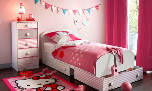 chambre coucher en rose hello kitty - Decoration Hello Kitty Chambre Bebe