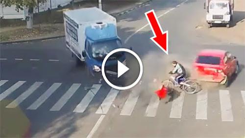 Ciclista sortudo sai ileso de acidente incrível