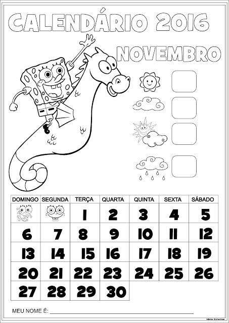 Calendário Novembro 2016 com Numeração Bob Esponja e Cavalo Marinho