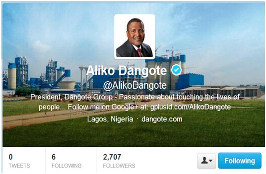 aliko dangote's twitter account