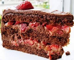Receita de Bolo de Chocolate com Recheio Trufado de Morango