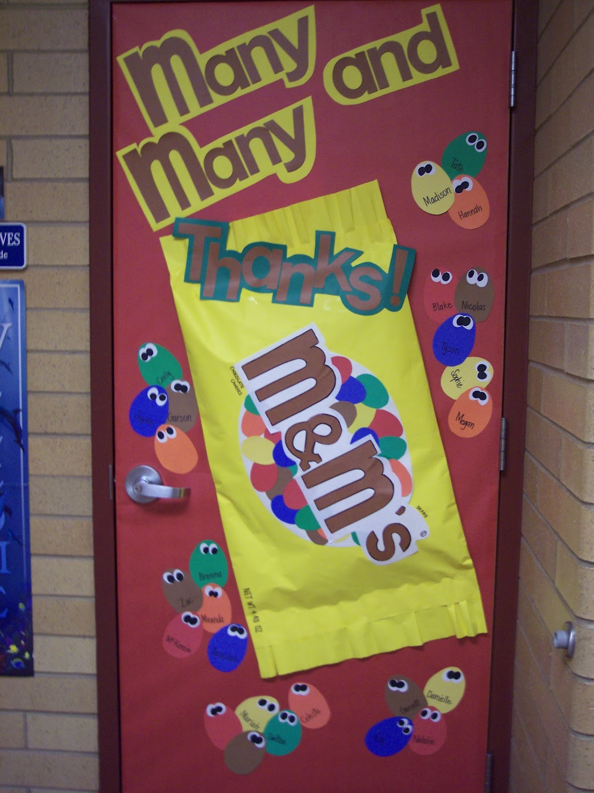 Classroom Ornament Ideas ~ Room mom candy themed door decorations