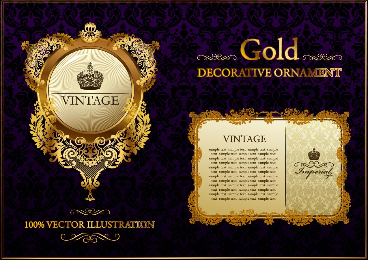 金色のレース柄が美しいフレーム gold lace pattern vector イラスト素材1