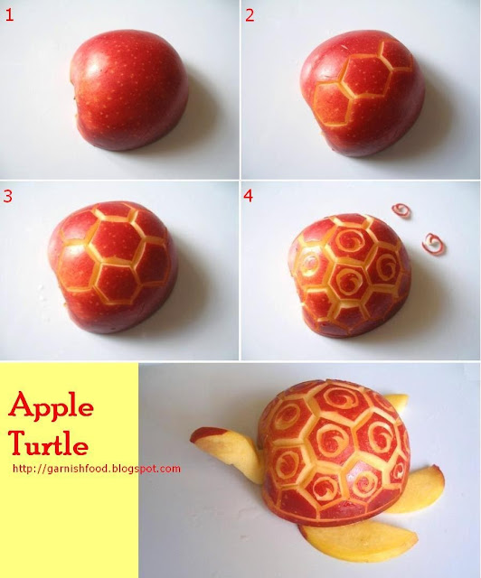 how to carve turtle out of apple