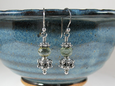 green Czech glass & Bali sterling silver earrings