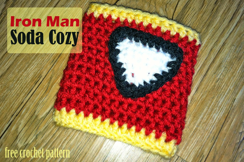 Crochet Rochelle Iron Man Soda Cozy
