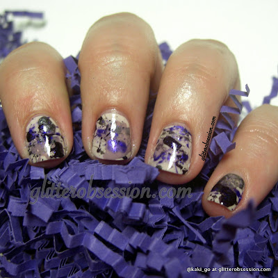 purple splatter mani