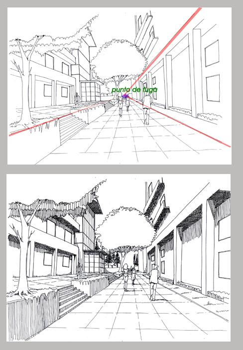 Dibujo constructivo for Exterior a un punto de fuga
