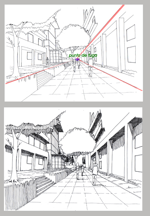 Dibujo constructivo for Exterior un punto de fuga