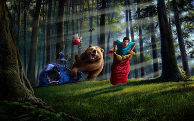 Oso gigante ataca a un boy scout en el bosque dentro de su casa de campaña - Fantasy wallpapers