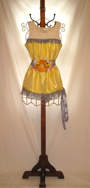 Vintage 50s Gold Color Tunic Adorned With Heather Grey Lace and Choice of Handmade Flower Embellished Sash Belt