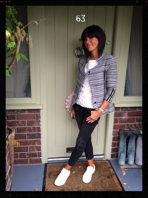 My Midlife Fashion, Knitted Jacket, Embroidery Anglaise, Distressed Denim, Trainers, Mango, Zara, Mint Velvet
