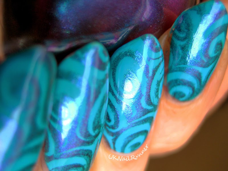 Models Own Blue Glint stamped with ILNP Birefringence using MoYou Sailor plate 7