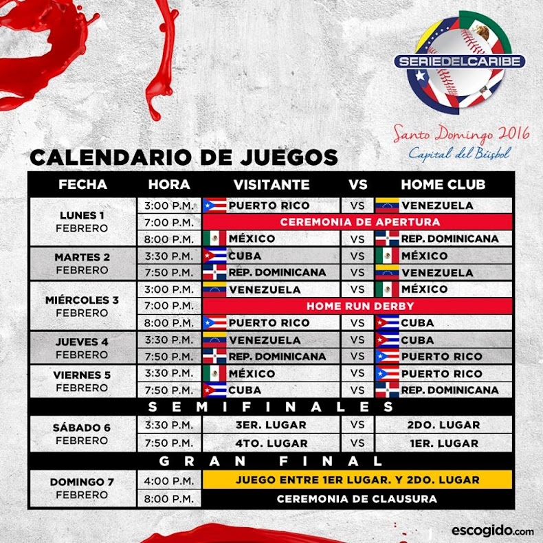 Calendario juegos Serie Caribe 2016, Santo Domingo