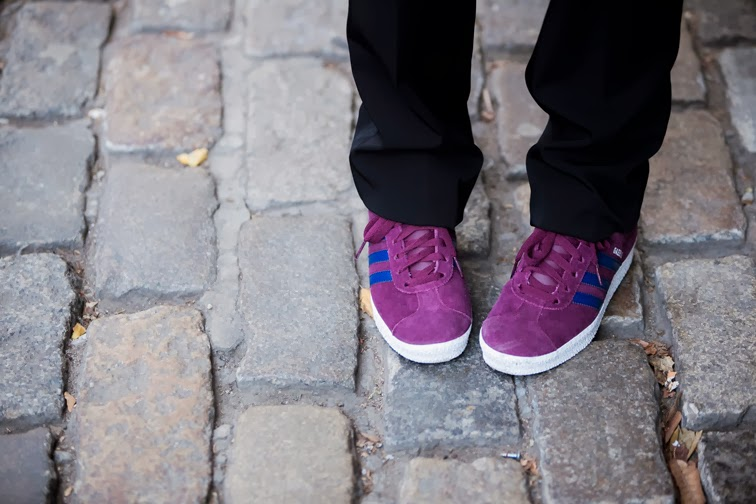 Burgundy and blue old school Adidas Gazelle sneakers running shoes, Lanvin tuxedo pants, cobble stone