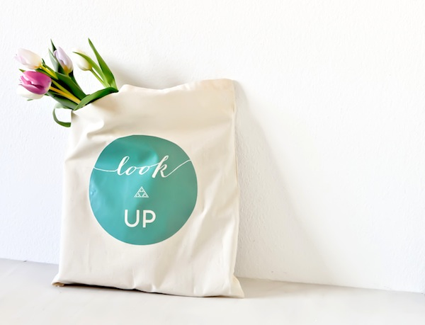 DIY iron-on tote - look up