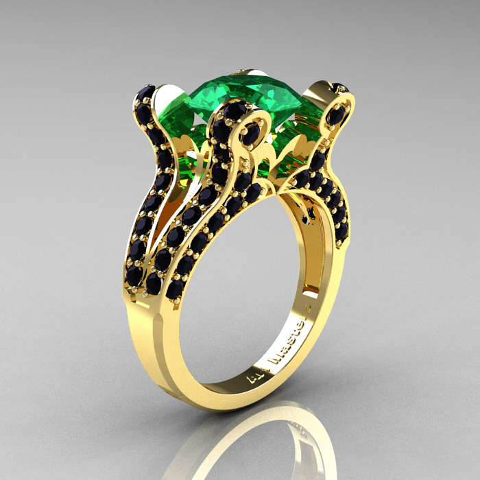 ClassicEngagementRing Blog French Vintage 14K Yellow Gold 3 0 CT Emerald