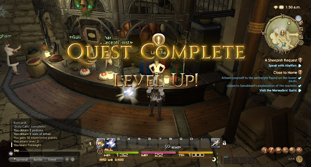 Final Fantasy XIV quest complete level up