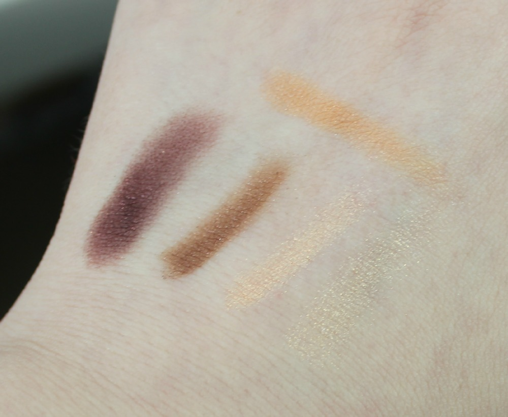 Missha Signature Velvet Art Shadow No.2 Peach Combination swatch swatches Lioele Color Eye Shadow 15 Bordeaux Wine
