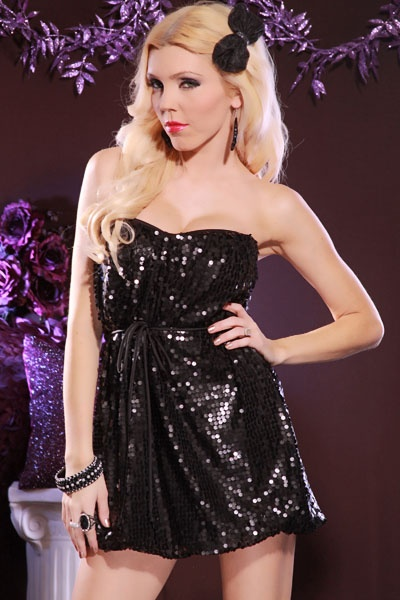 This Is A Very Sexy Mini Dress Featuring Tube Style, Sequin Throughout