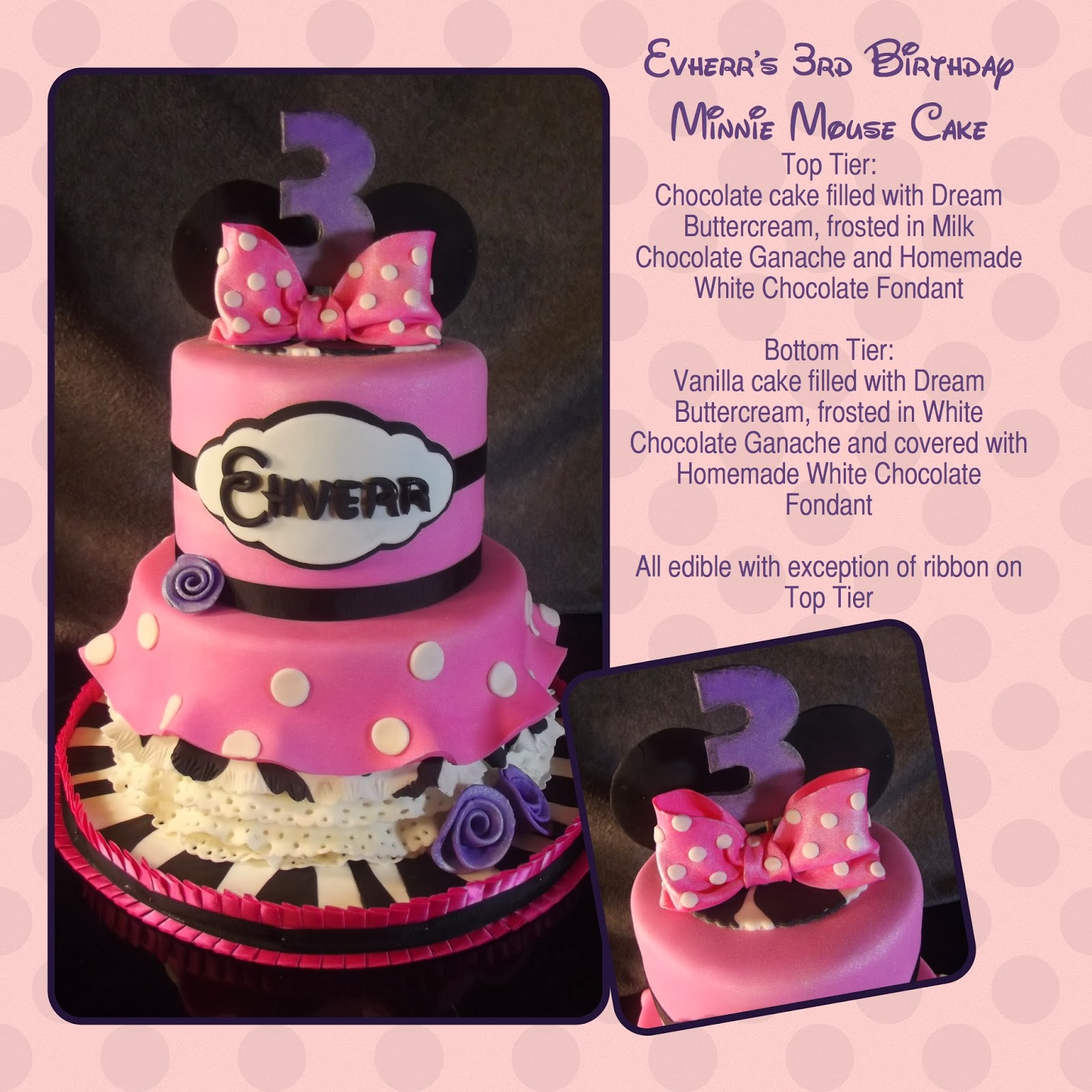 Le Mie Cose Favorites Minnie Mouse 3rd Birthday Cake with Zebra Print