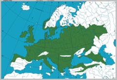 Mapa que muestra el lugar de origen del Quercus robur