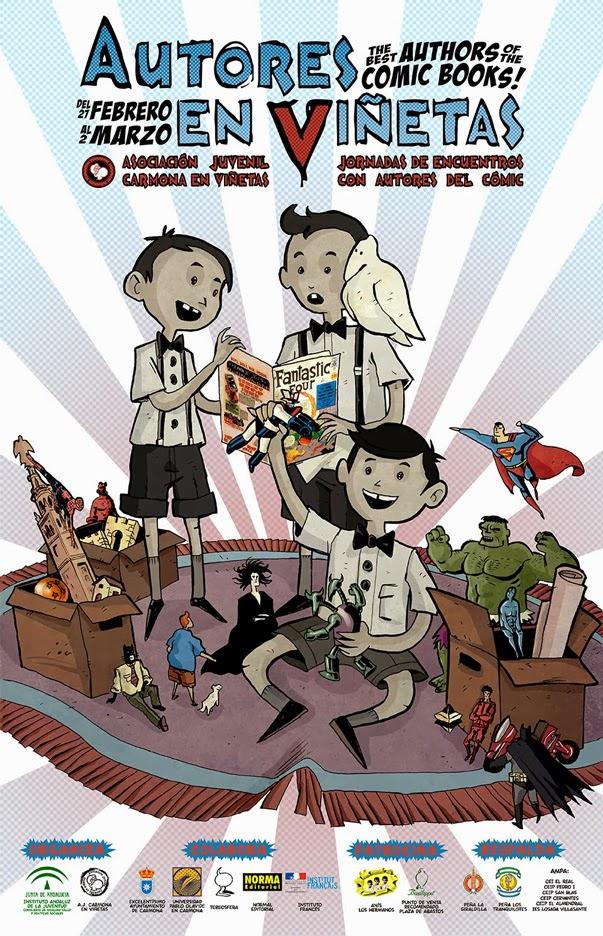 """Cartel para la 5ª edición de """"Autores en Viñetas"""" (Carmona)"""